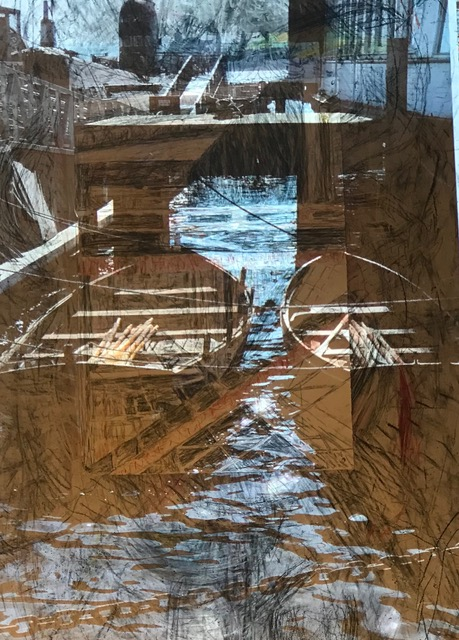 """Dock Dream"", charcoal, pastel archival digital print 30"" x 40"""