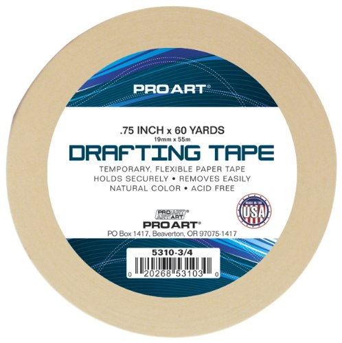 "PRO ART 3/4-Inch 60-Yards Drafting Tape   This might seem like a boring product to include here but my students are always asking for the best kind of tape to use when taping watercolor paper to the boards for stretching. Masking tape is too sticky, and ""artist tape"" is a waste of money. And I really don't recommend the blue painter's tape because it affects your sense of color when painting. This drafting tape is the sweet spot."