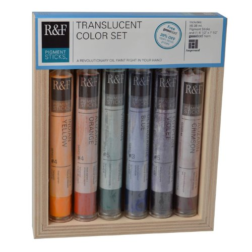 R&F Oil Pigment Sticks   I could gush on and on about these yummy oil pigment sticks. They are like budda! Seriously, these creamy oil sticks work brilliantly with encaustic paint, but also can be used on primed paper, panel, and canvas on their own. Wear gloves because they are soft and will get all over your hands. Click the link for the full delicious color range of options!