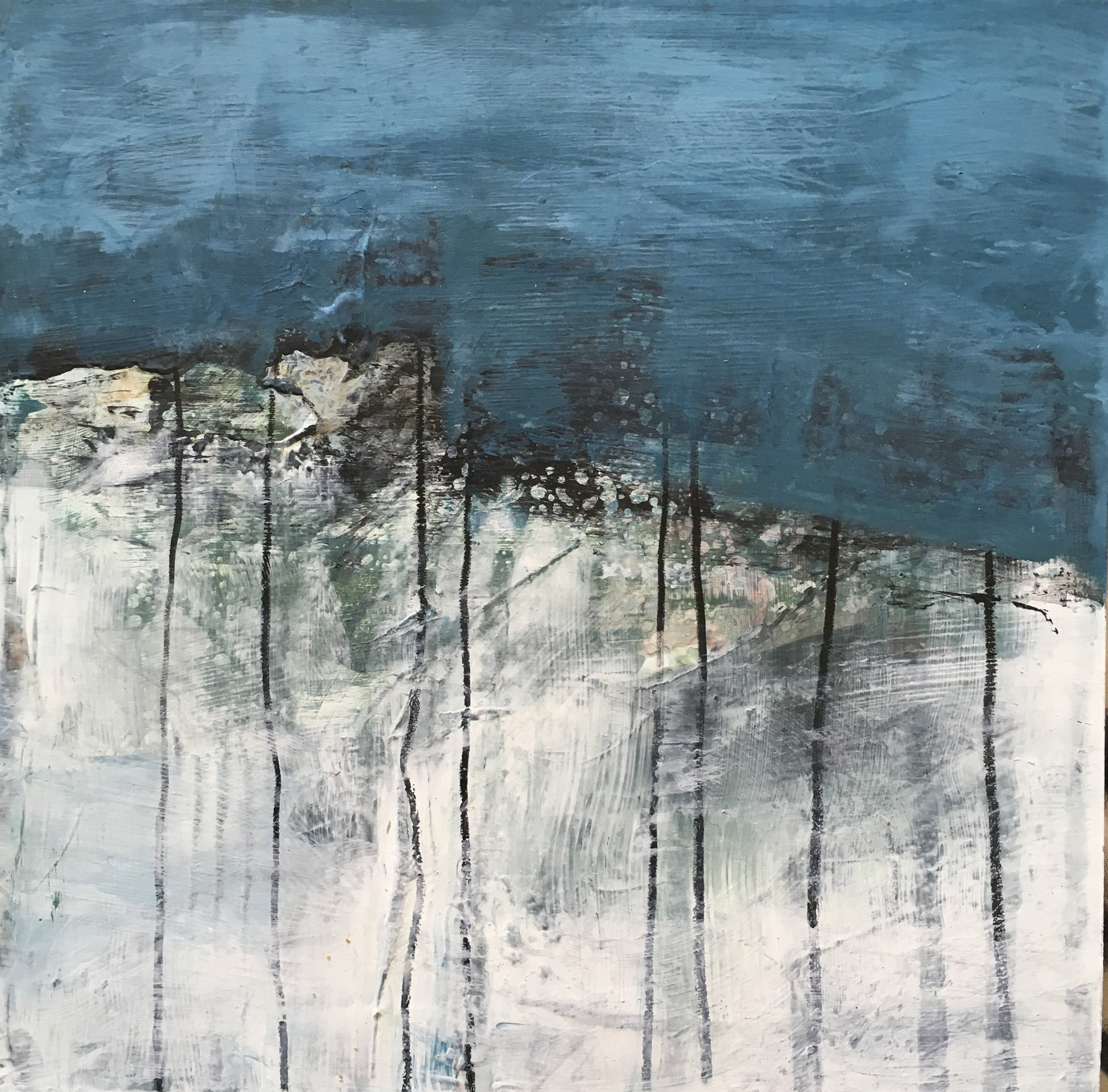 """30 Days of Aqua #15 Acrylic, toner on panel. 6"""" x 6"""" x .75"""" 2018 Sold ©Amy Guion Clay"""