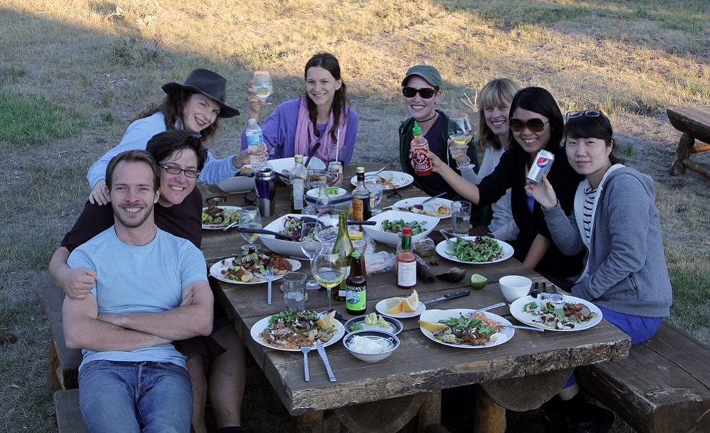 Enjoying an outdoor evening meal with fellow artist residents at Brush Creek Foundation for the Arts, WY 2013