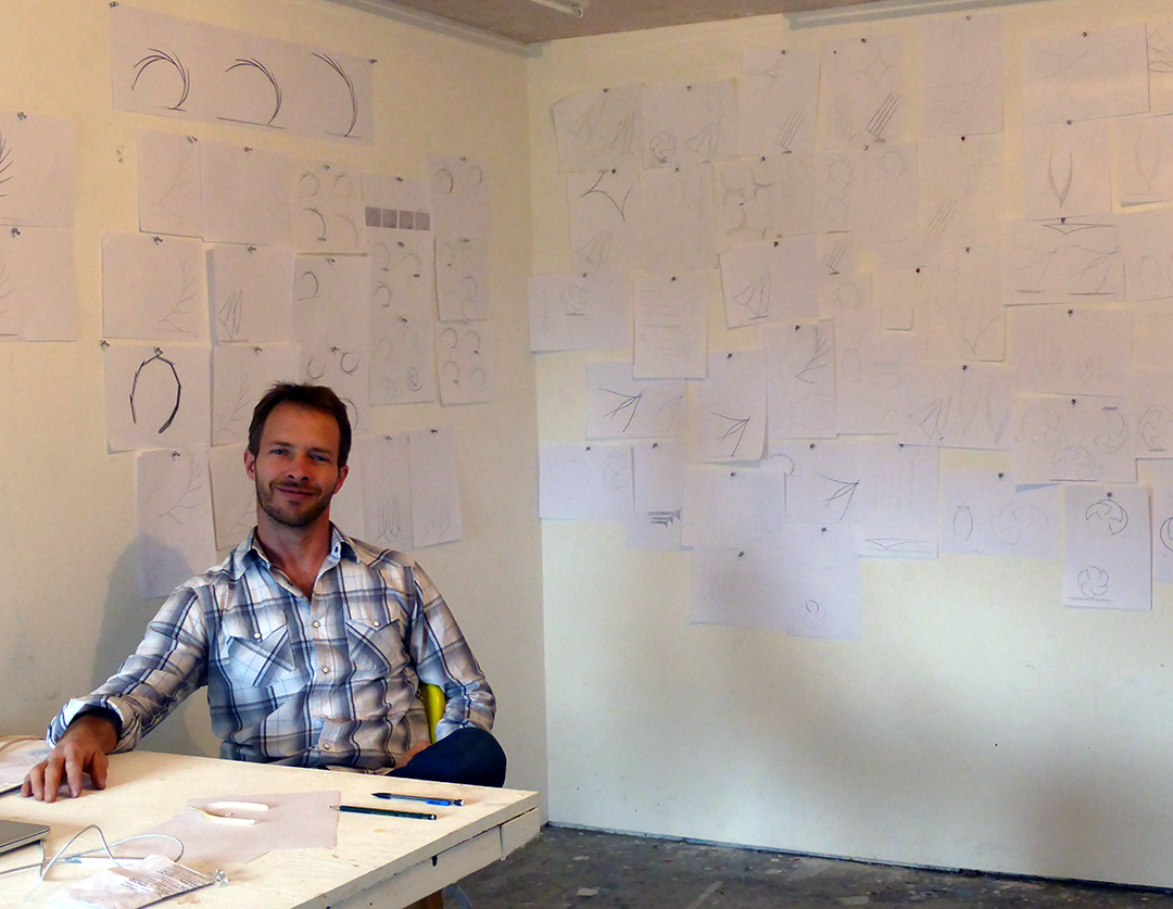 Will with his sketches in process at Cowhouse Artist Residency in Ireland 2018.