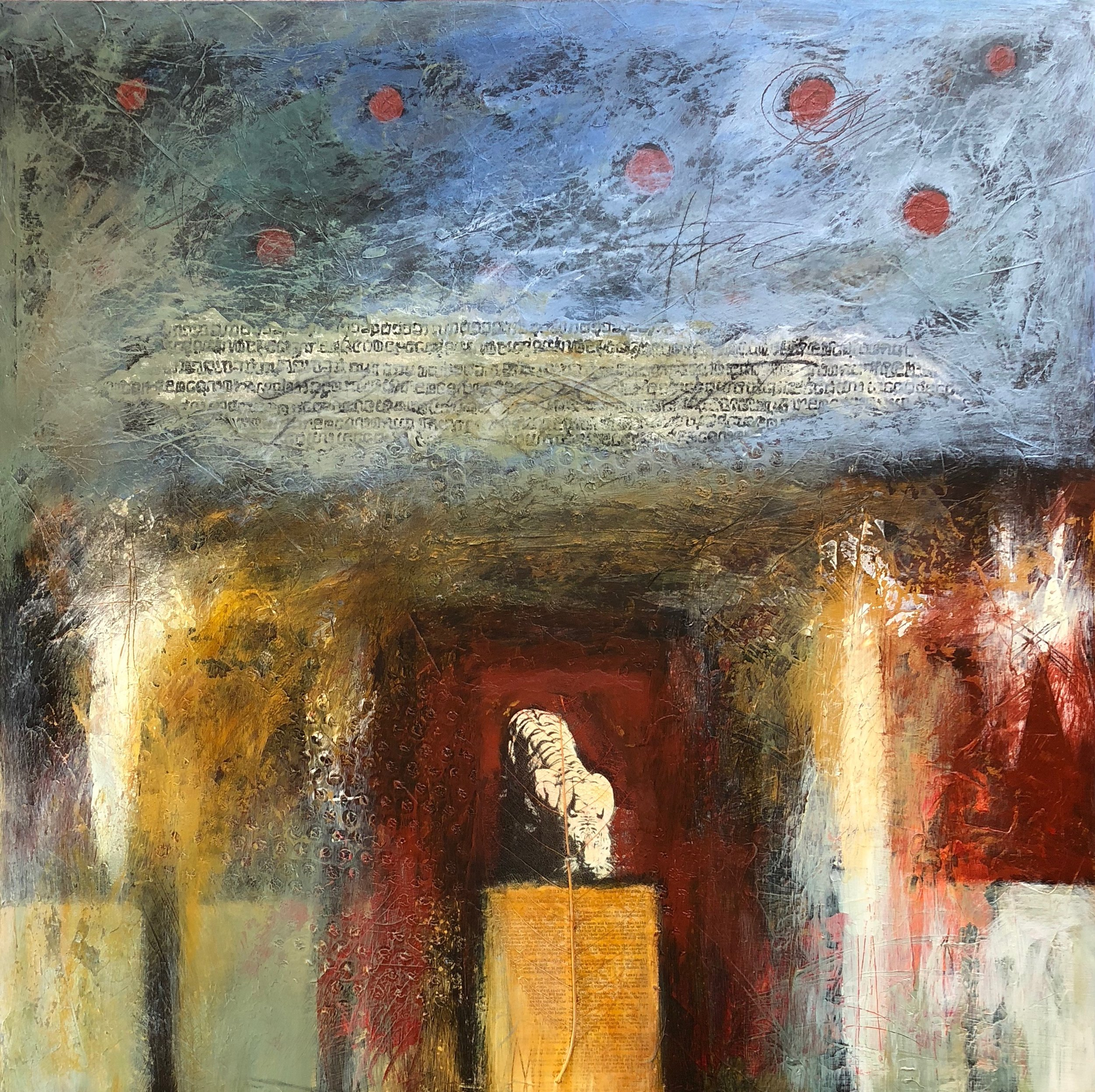 """""""Praise it"""" Acrylic, mixed media on panel 2003 24"""" x 24"""" x 2"""" Sold. ©Amy Guion Clay"""