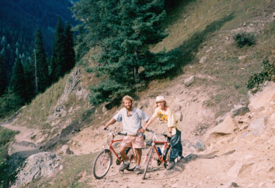 Cycling through the Kumaon Hills in the Lower Himalaya, India, Oct 1988. No spandex or helmets here (don't try this at home)!