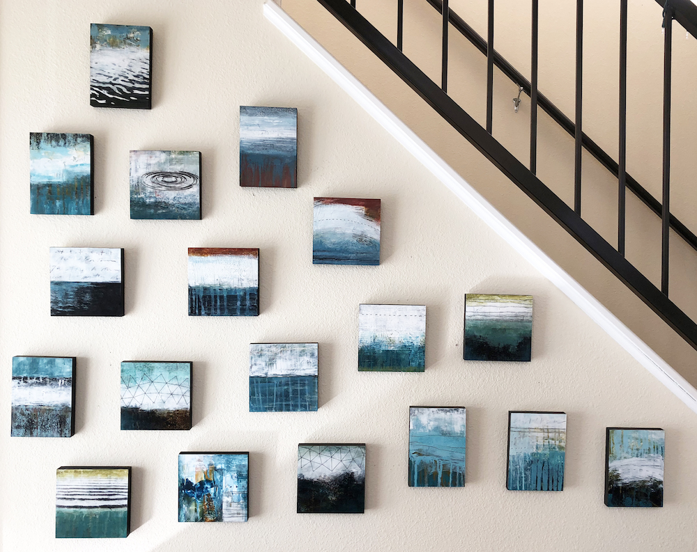 This wall of Aqua paintings sold during Open Studios to a wonderful collector in Hawaii.