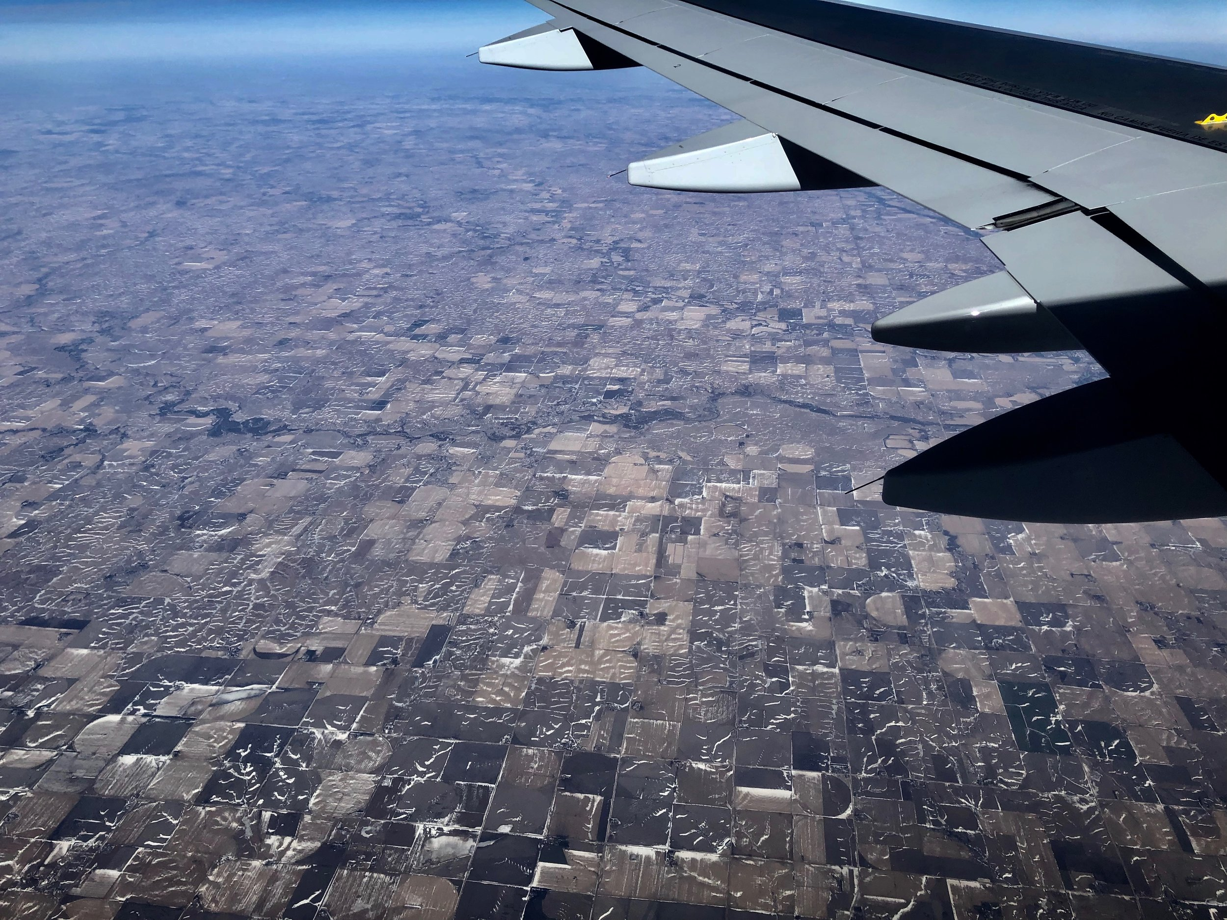 The round irrigation fields turn to rectangular grids as we head east across the US.