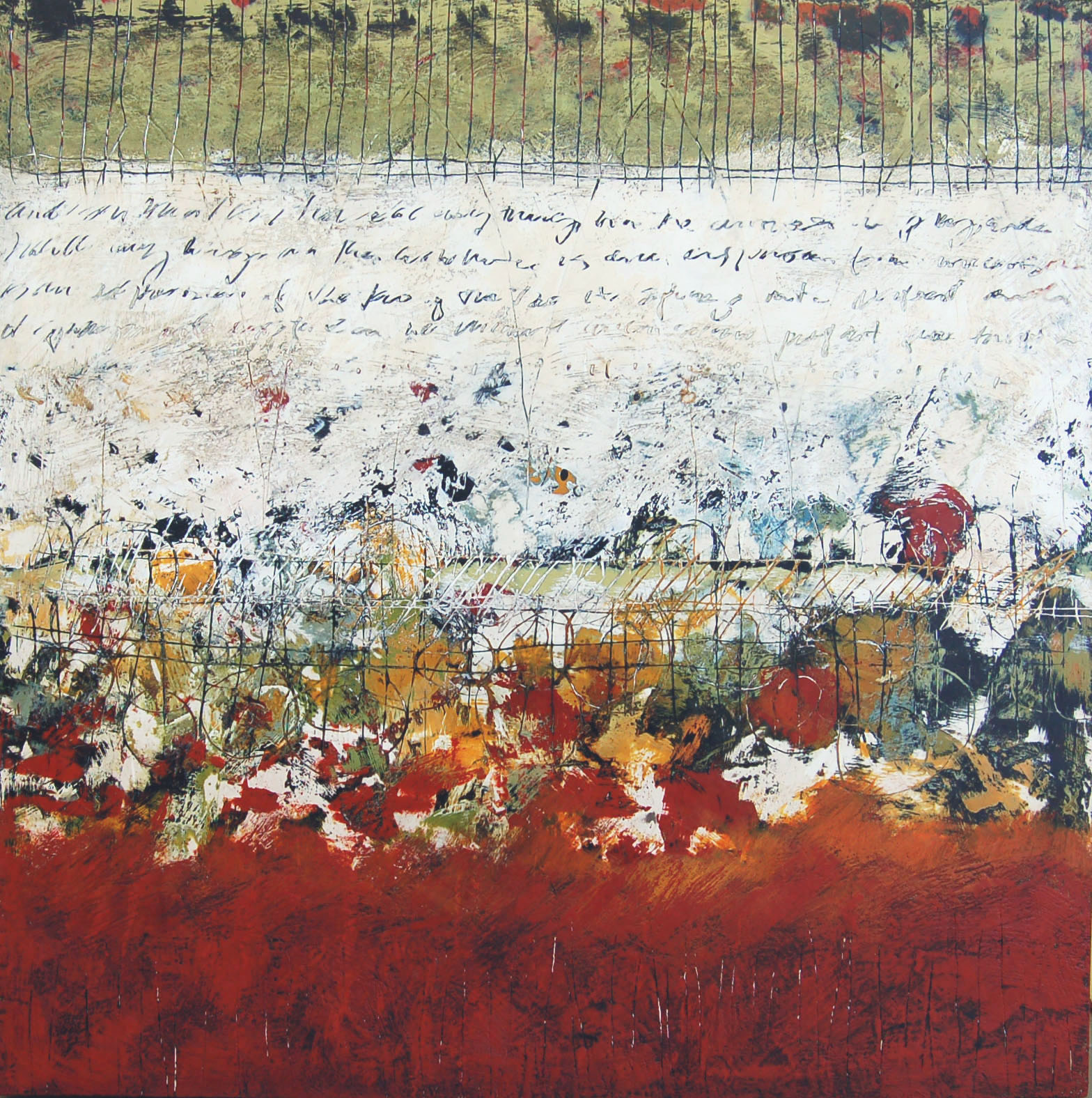 """""""The Elucidation of Movement"""" 30"""" x 30"""" x 3"""" Encaustic, toner, oil on panel 2005 ©Amy Guion Clay SOLD"""
