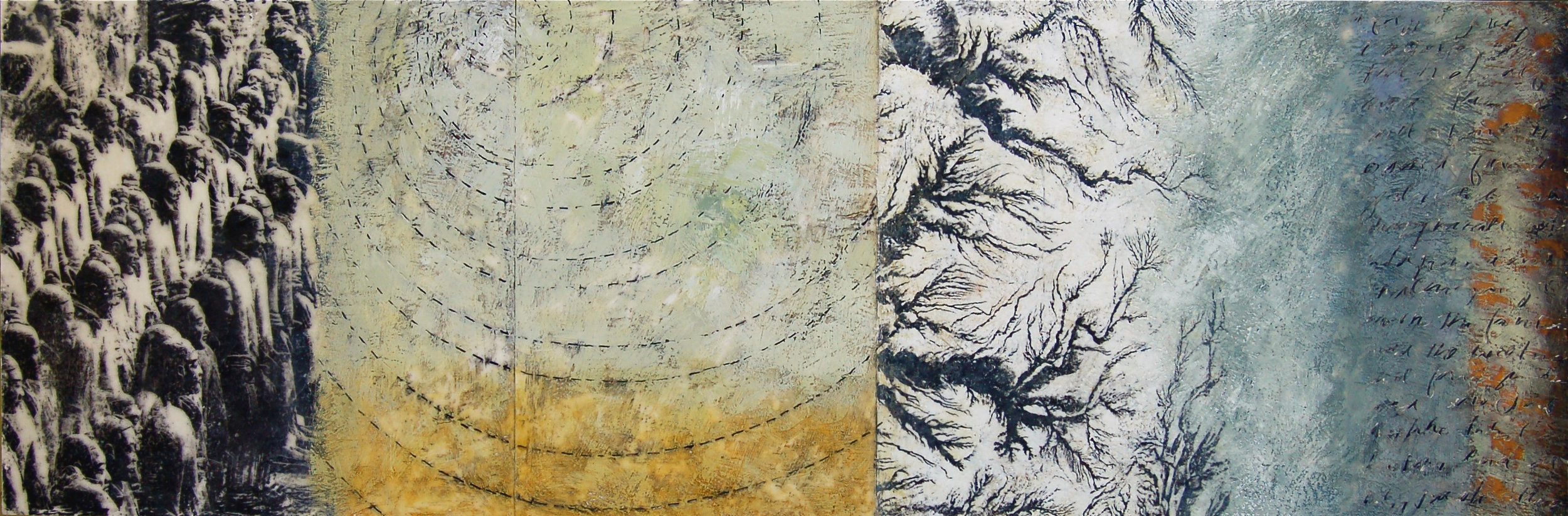 """""""Point To The Unchanging"""" 18"""" x 48"""" x 3"""" Encaustic, toner, oil on panel 2008 ©Amy Guion Clay SOLD"""