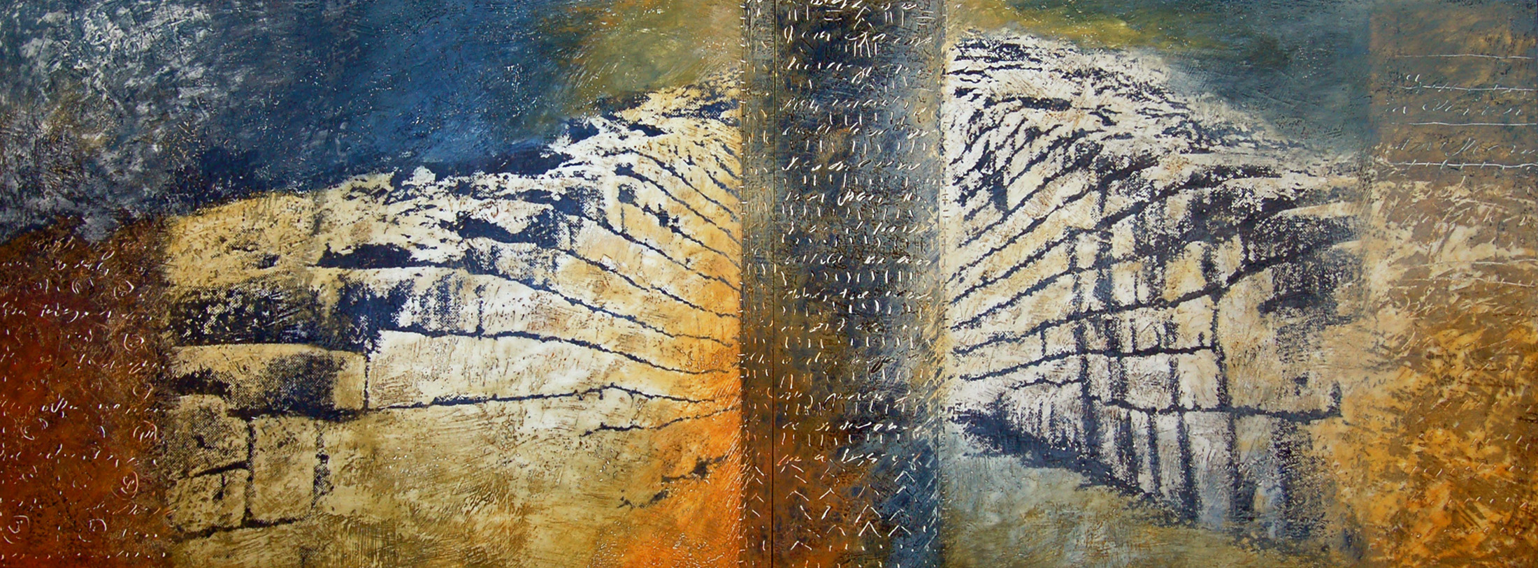 """""""Heavens Open"""" 18"""" x 48"""" x 3"""" Encaustic, toner, oil on panel 2008 ©Amy Guion Clay SOLD"""