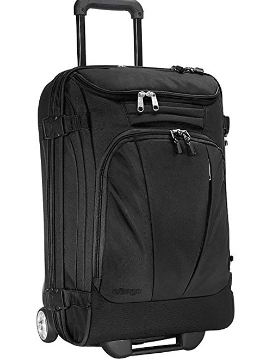 """ebags TLS Mother Lode Mini 21"""" Wheeled Duffel Bag Luggage - Carry-On     As mentioned in the Backpack description, I only take 3 pieces of luggage. This carry-on is the perfect size to stow away and fits the carry-on criteria. I love the top access, and the division of space, so my shoes can be separate from my clothes etc. For shorter trips, I only use the backpack and this carry-on. Sturdy, lightweight, solid."""