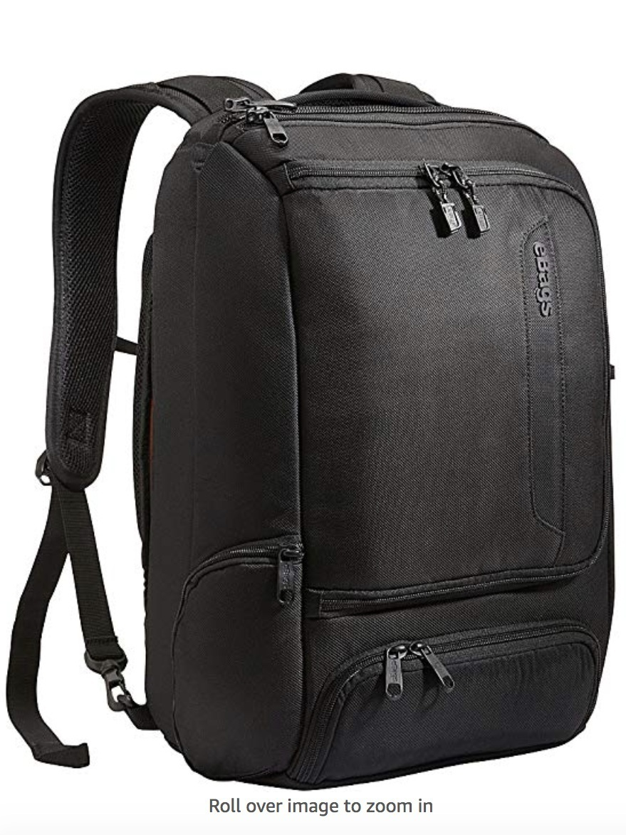 """eBags Professional Slim Laptop Backpack for Travel, School & Business - Fits 17"""" Laptop - Anti-Theft    I'm a huge fan of the Ebag luggage collection. When I'm traveling, sometimes for months at a time, I bring this backpack, a carry-on bag and 1 checked bag. This one is essential. It holds my laptop, Ipad, snacks, cords you name it. And essentially, it has a water bottle holder on the side for easy access."""