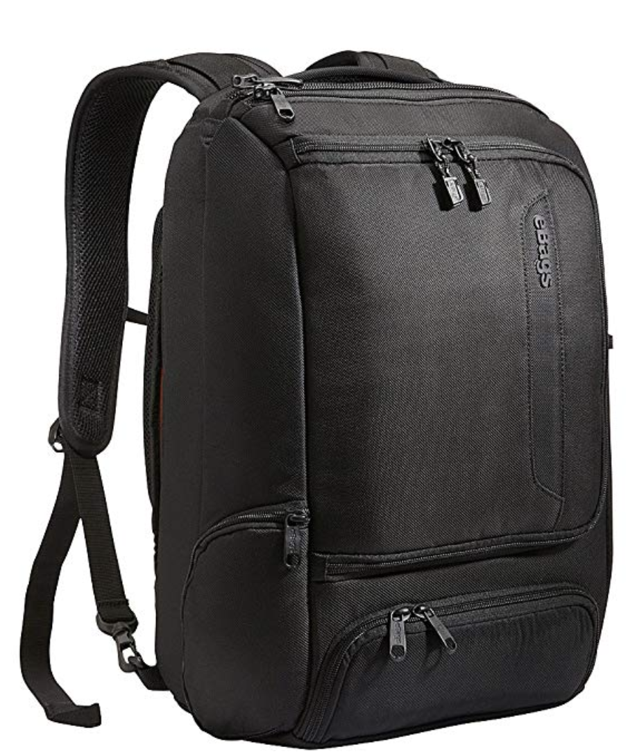 """eBags Professional Slim Laptop Backpack for Travel, School & Business - Fits 17"""" Laptop - Anti-Theft     I'm a huge fan of the ebag luggage collection. When I'm traveling, sometimes for months at a time, I bring this backpack, a carry-on bag and 1 checked bag. This backpack fits the bill - It holds my laptop, Ipad, etc, in easy to reach various compartments. And importantly, it has a water bottle holder on the side for easy hydration."""