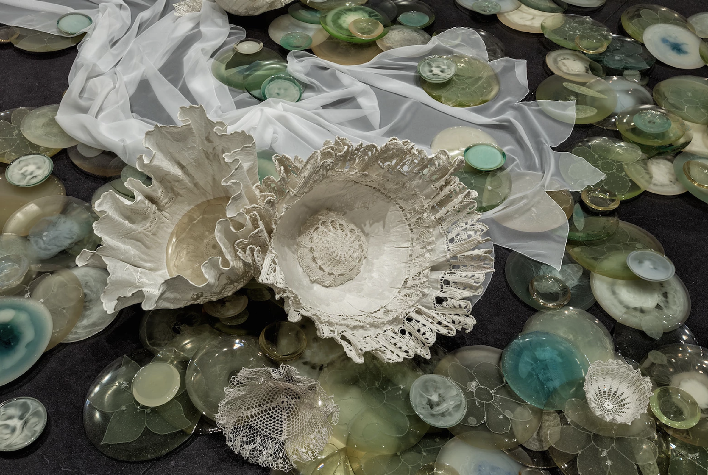"""Detail of """"A River of White Songs"""" Installation"""