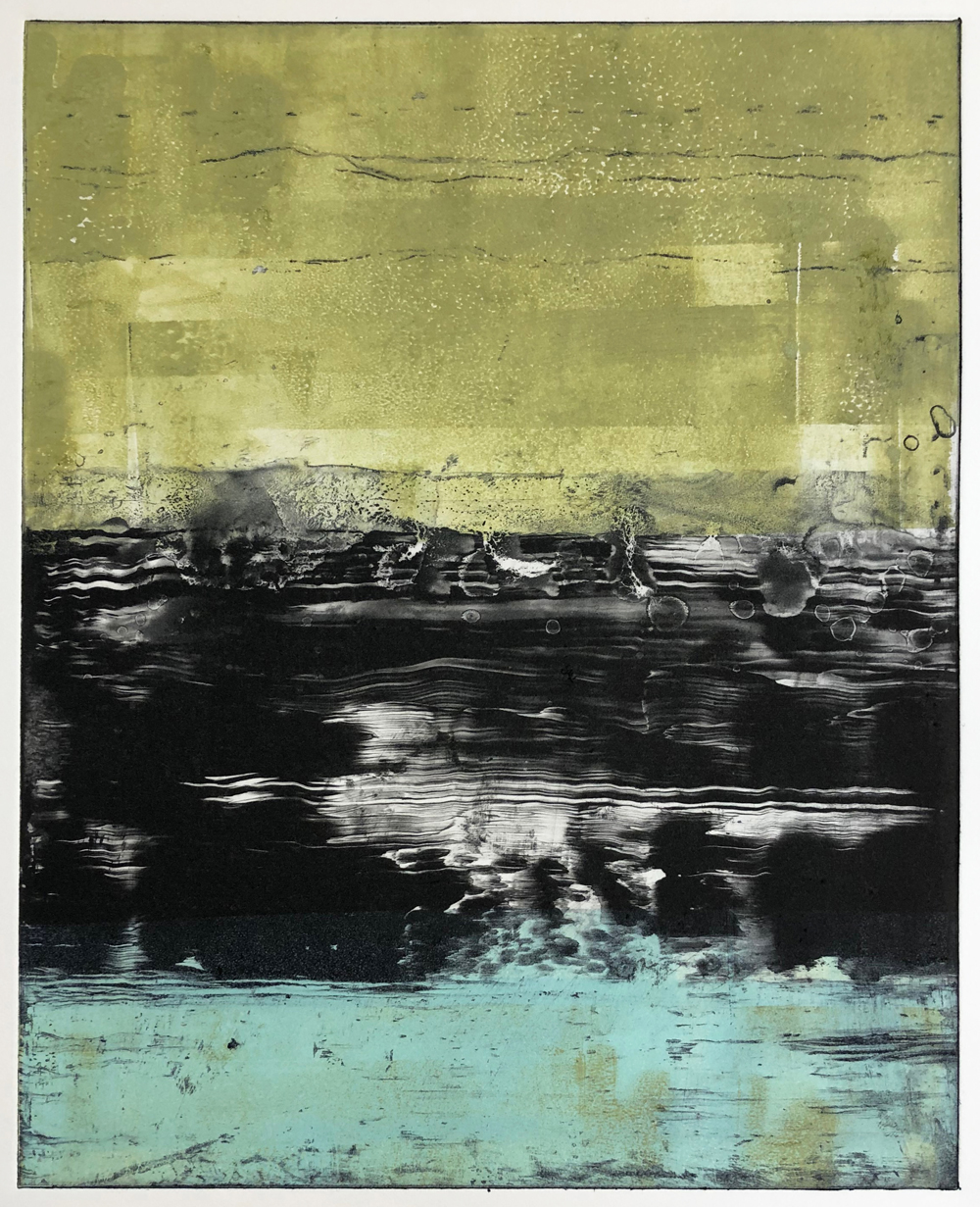 Photopolymer Etching Monotype with inked surface. © Amy Guion Clay 2019