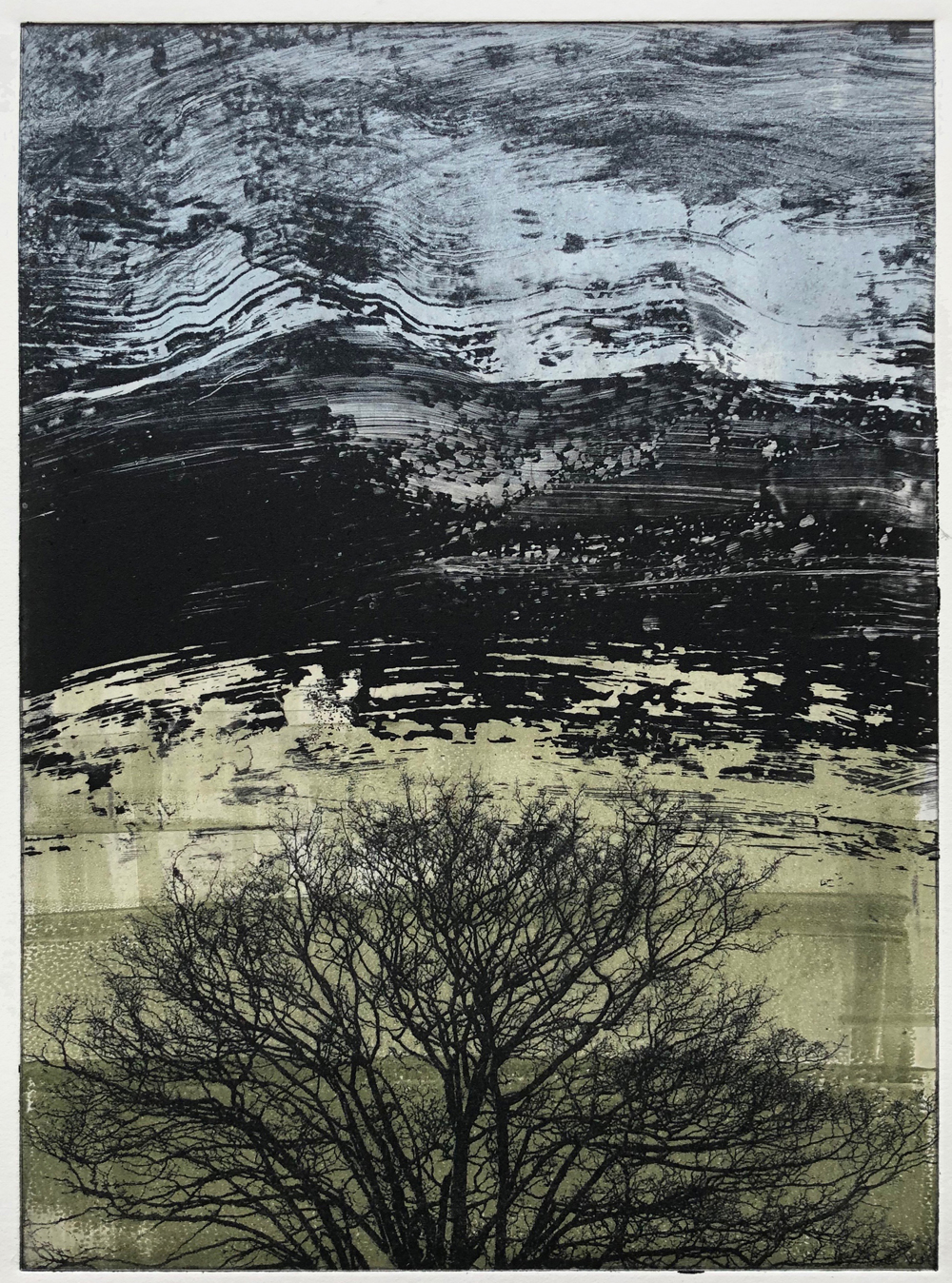 Photopolymer Etching Monotype with inked surface.  © Amy Guion Clay 2019 This plate from a residency in 2017 was inked up in a new palette as part of this new series.