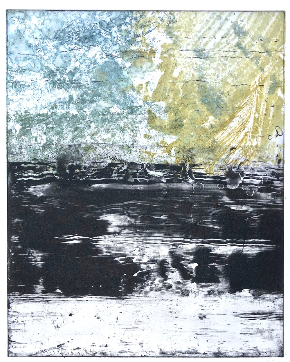 Photopolymer Etching Monotype with Chine Collé © Amy Guion Clay 2019