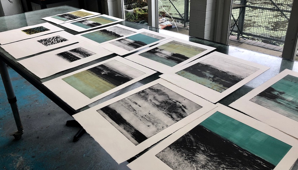 Some of my etchings in process at London Print Studio June 2019