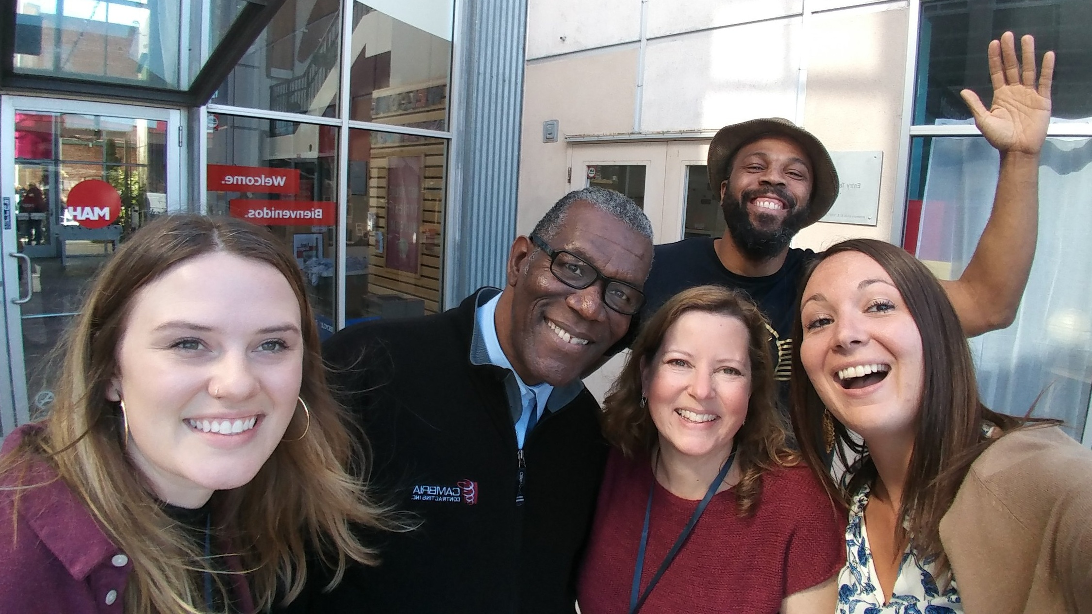 The Heritage Center's OF/BY/FOR ALL team at the Change Network annual retreat: Emily Reynolds, Charles A. Walker, Christine Bacon, Saladin Allah, and Ally Spongr (Photo: Niagara Falls Underground Railroad Heritage Center)
