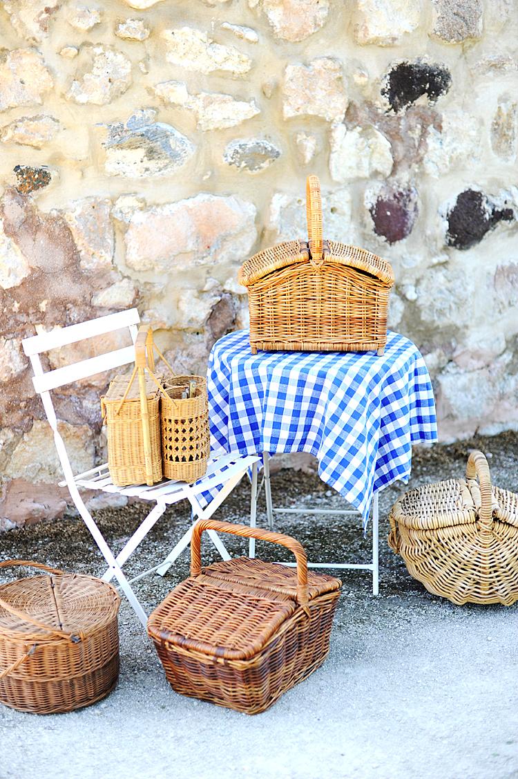 French Country Picnic Basket H A V E N European Farmhouse Antiques Natural Wares