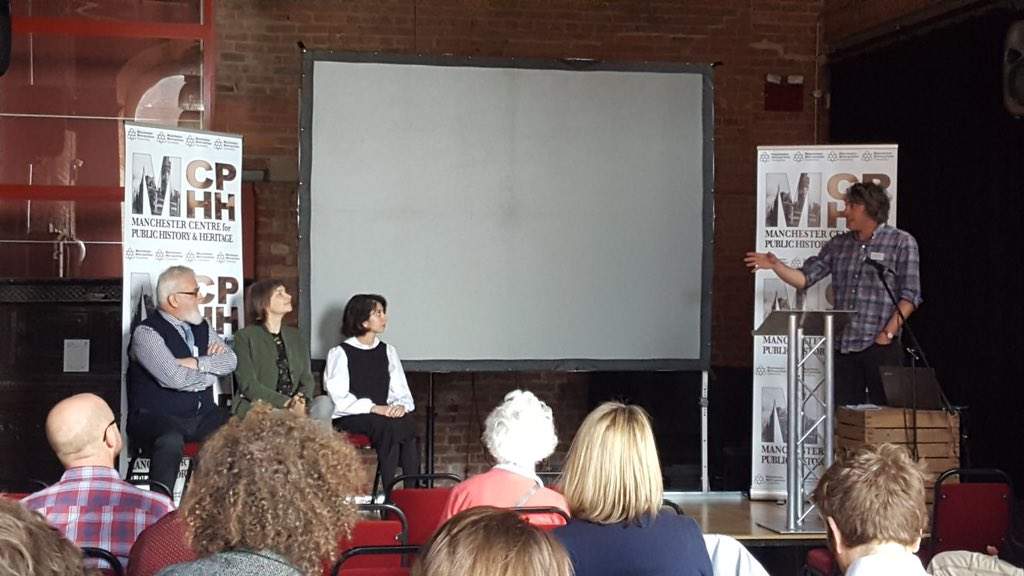 """Leen Katrib in a panel discussion for """"Marginalization, Reconciliation and Civic Identity"""" alongside Trina Cooper-Bolam and Eamonn Canniffe"""