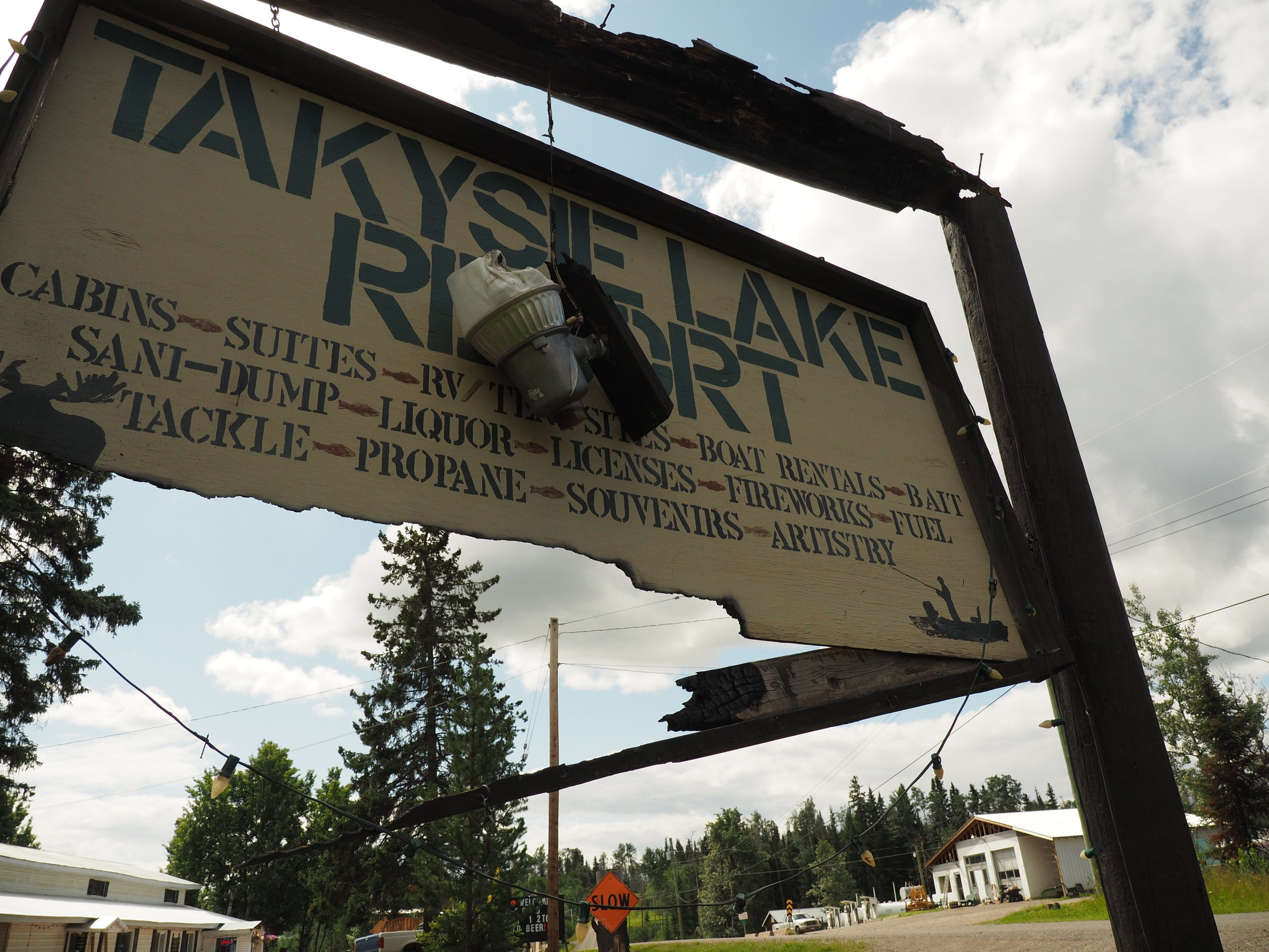 Takysie Lake Resort Sign