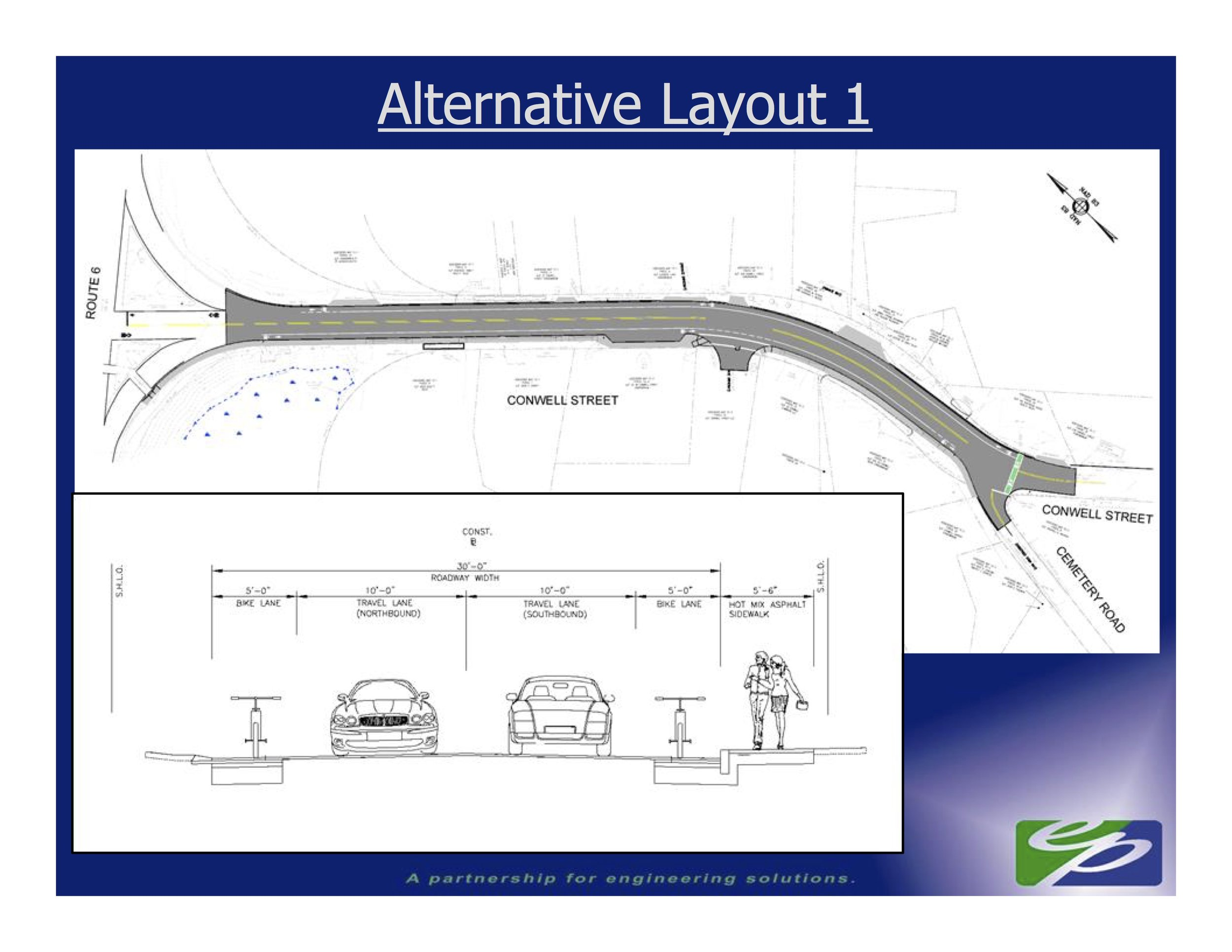 The initial design for adding bike lanes and a sidewalk to a section of Conwell Street in Provincetown.