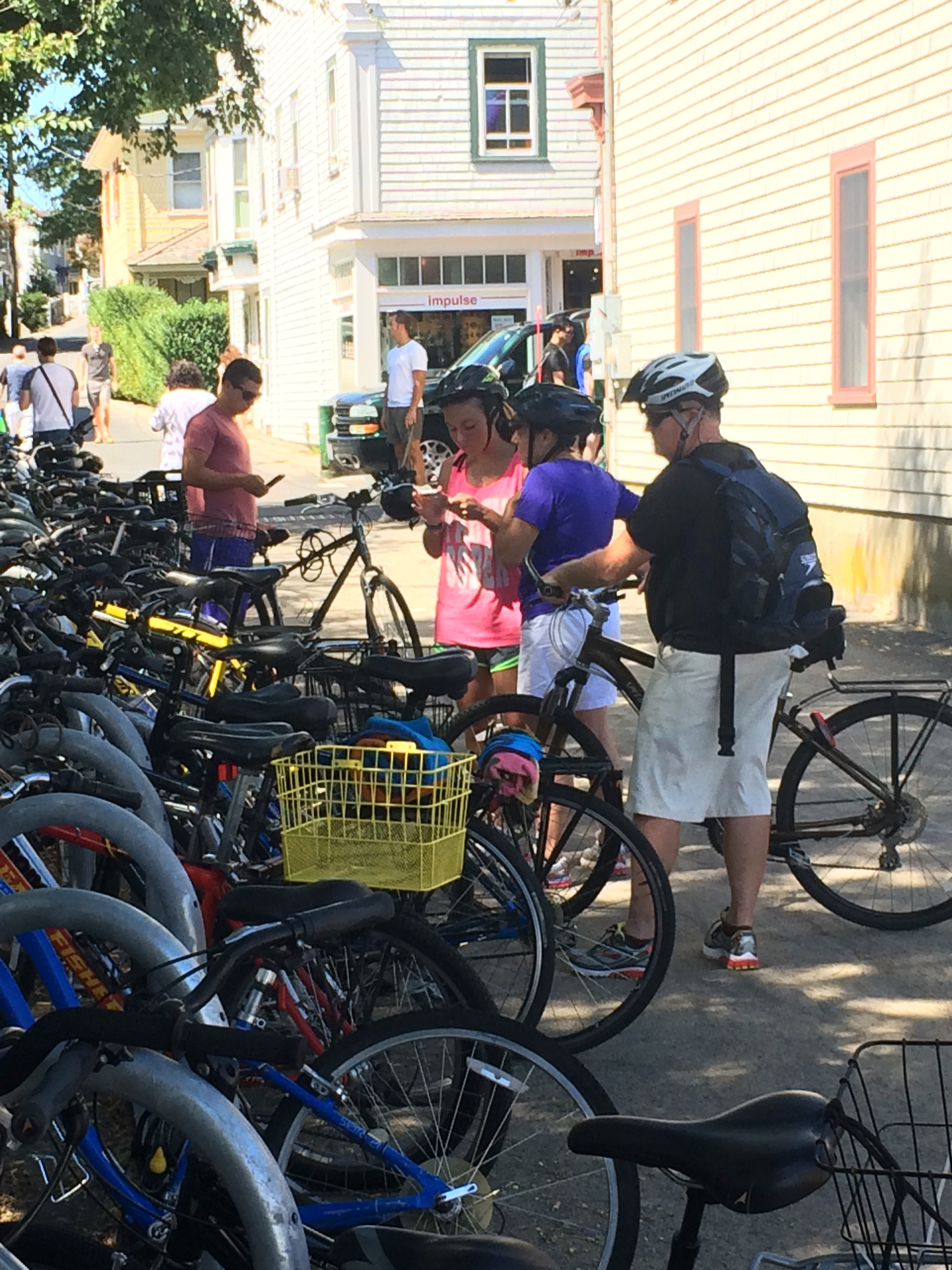 Bicycle parking at Court Street Landing in Provincetown.