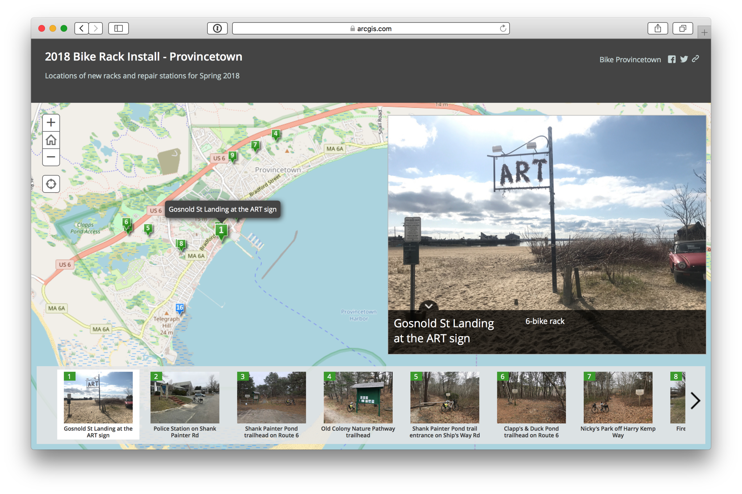 2018 Bike Rack Install Locations - Provincetown (story map)