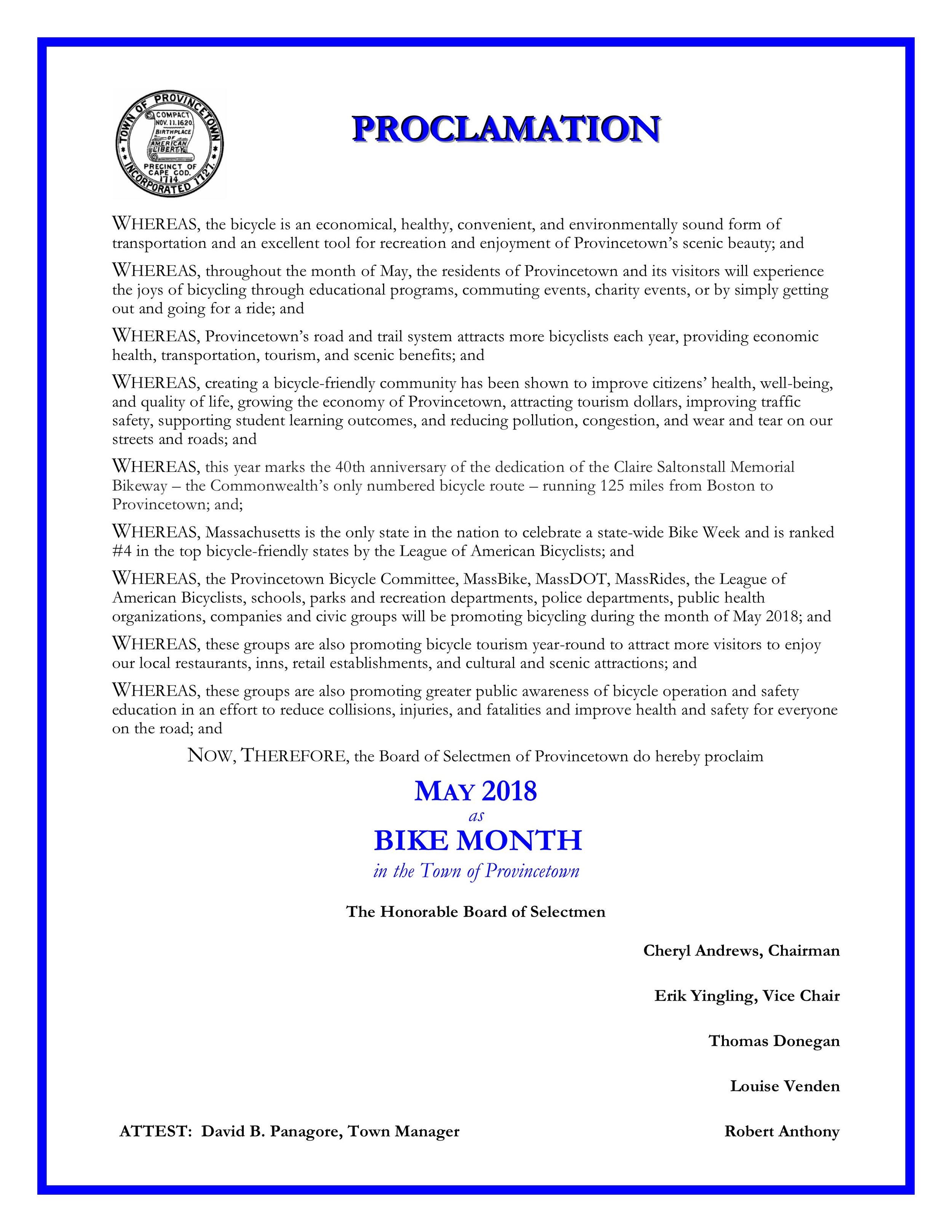 2018 Provincetown Bike Month Proclamation