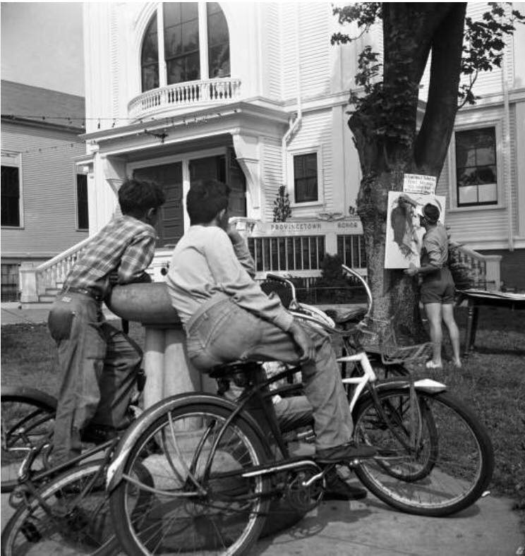 Men with bicycles in front of Town Hall in Provincetown, 1948