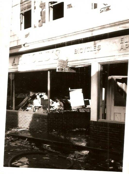 Arnold's Bike Shop after the fire on June 4, 1949