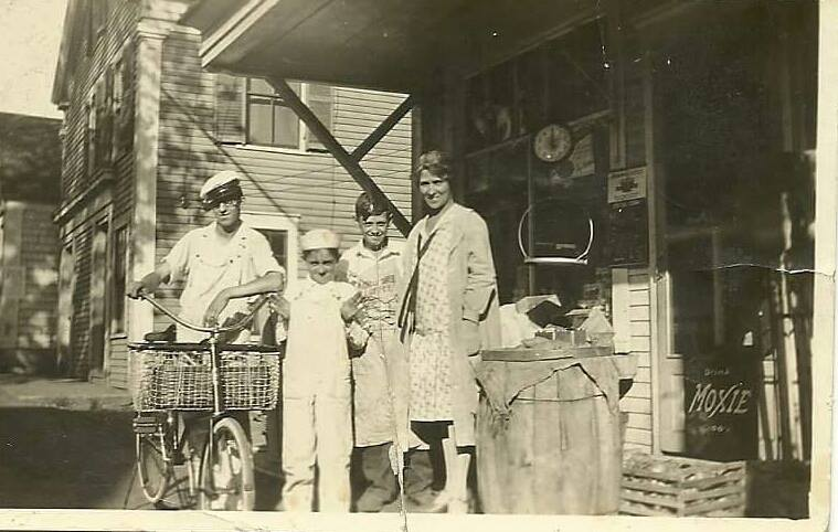Daniel Silva on a bicycle in front of a store in 1928 - My Grandfather's Provincetown - Judi Silva Sherlock