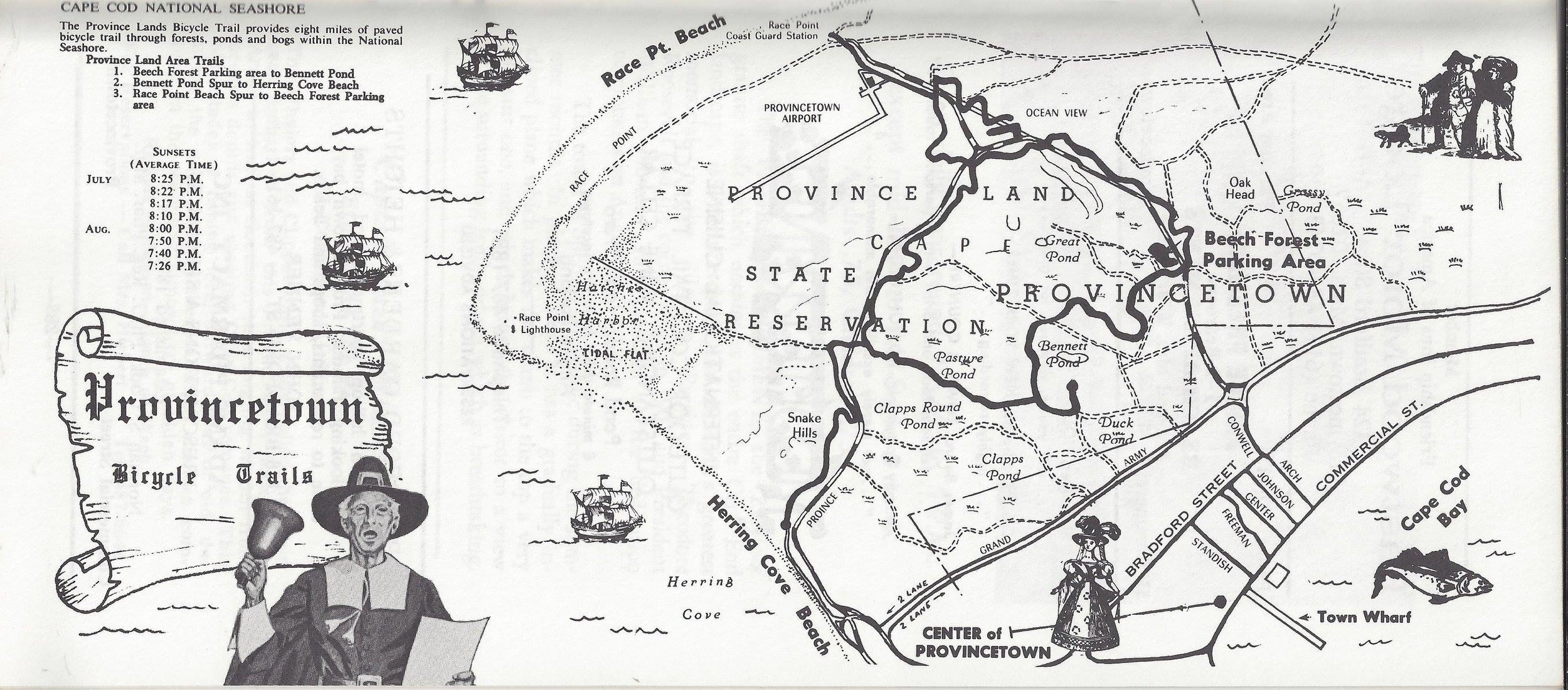 Provincetown Chamber of Commerce map showing the Province Lands Bike Trail, circa 1970