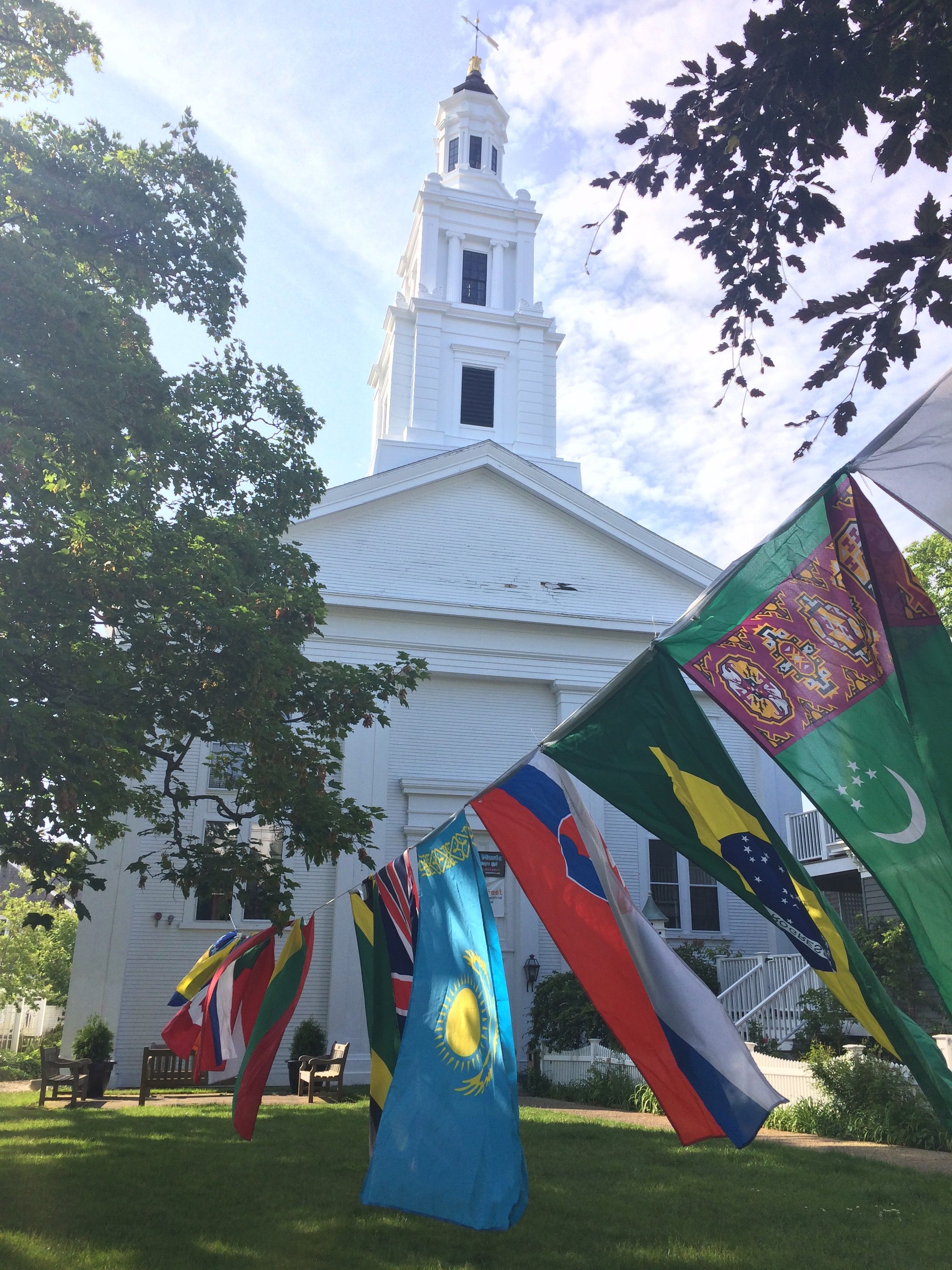 Blessing of the Bikes takes place on the lawn of Provincetown's Unitarian Universalist Meeting House.