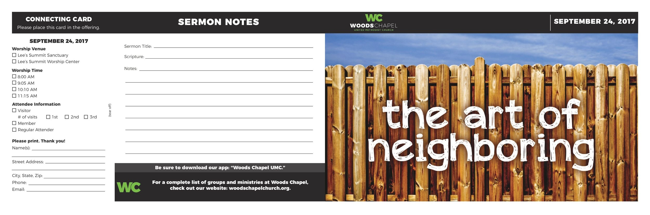 Front/back page of a bulletin for Woods Chapel Church.