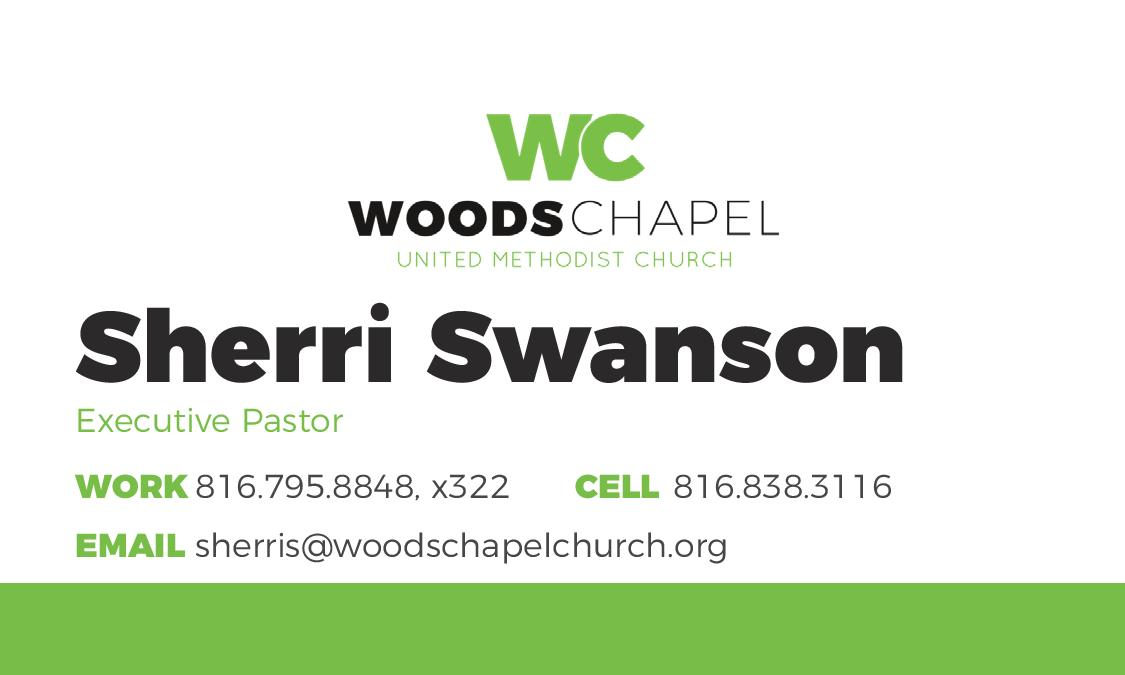 Front side of a staff business card for Woods Chapel Church.