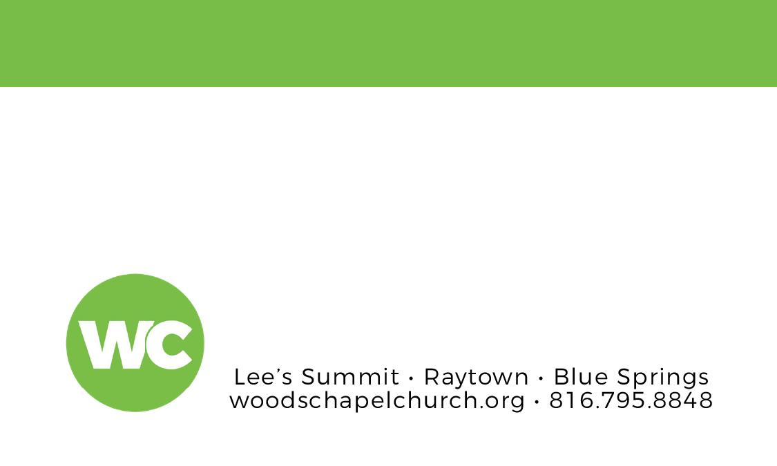 Back side of a staff business card for Woods Chapel Church.