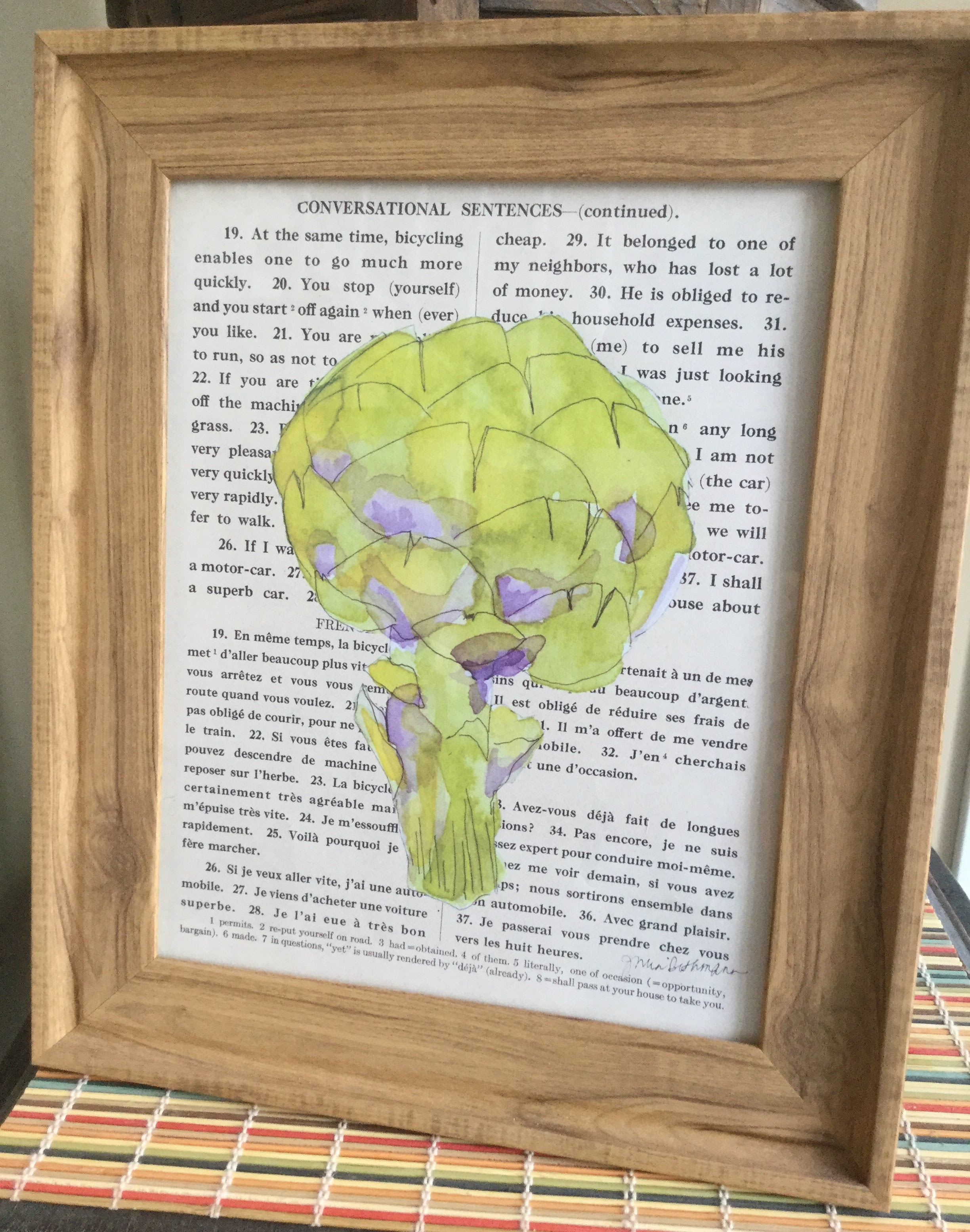 The Artichoke print framed, others in my shop!