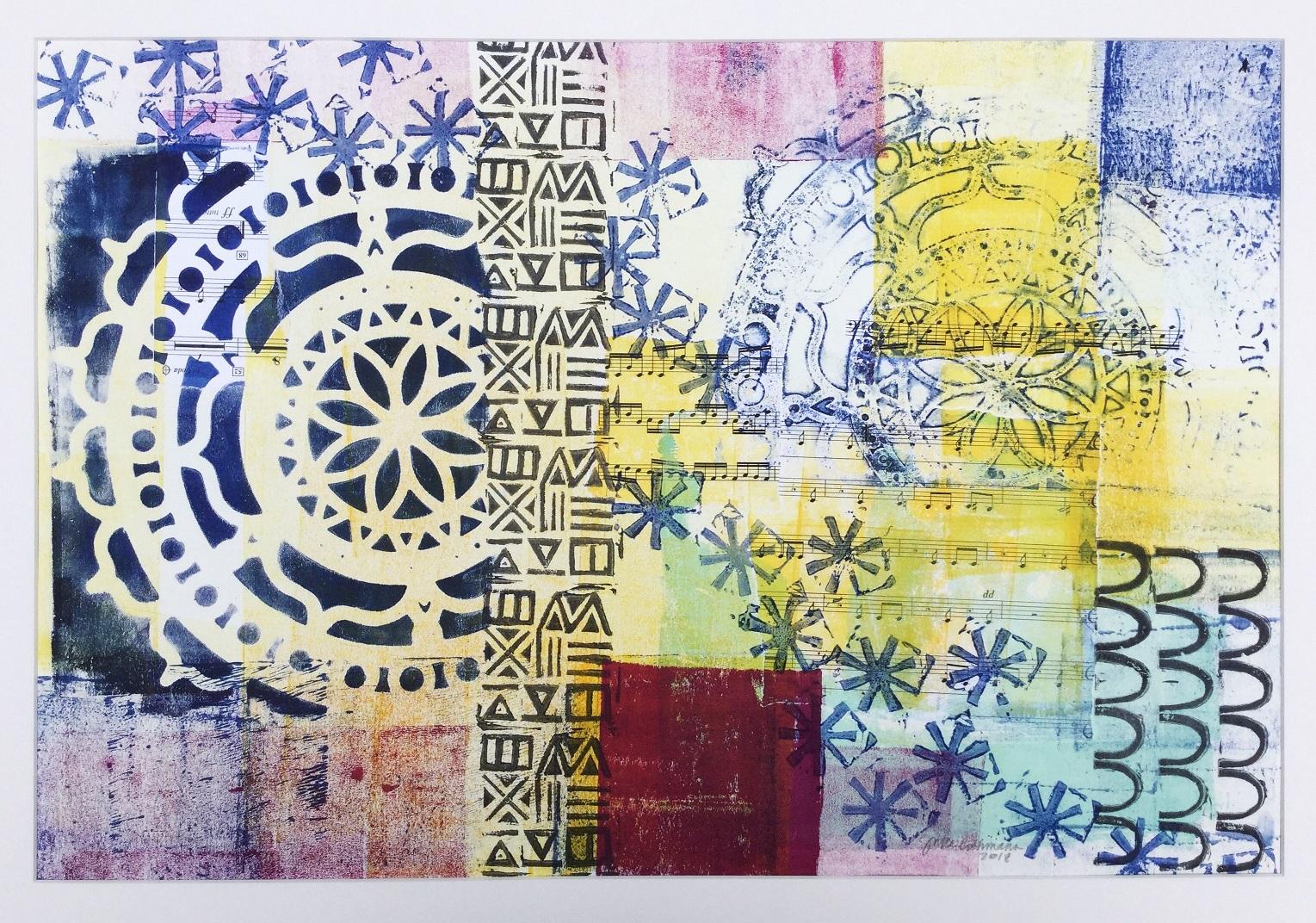 """Mandala: Wind"", monotype, collage, blockprinting, 2018"