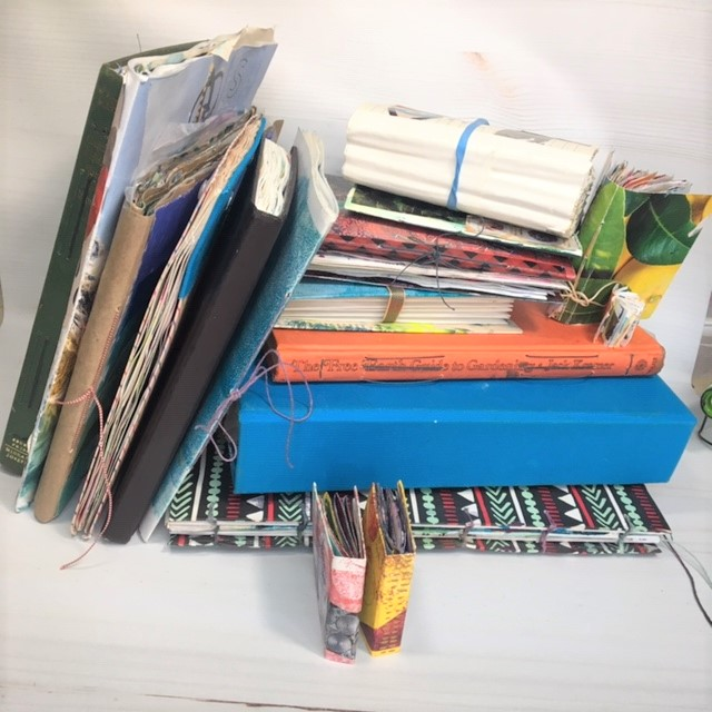 Stack of finished journals from 2018