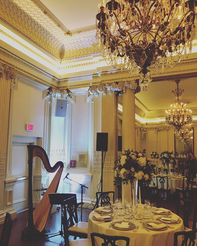 @oandeband office tonight. @lvertalent #lotosclub #weddingband #weddingmusicians #nyc #harpist #harpistthatsing #singingharpist #jazzpop