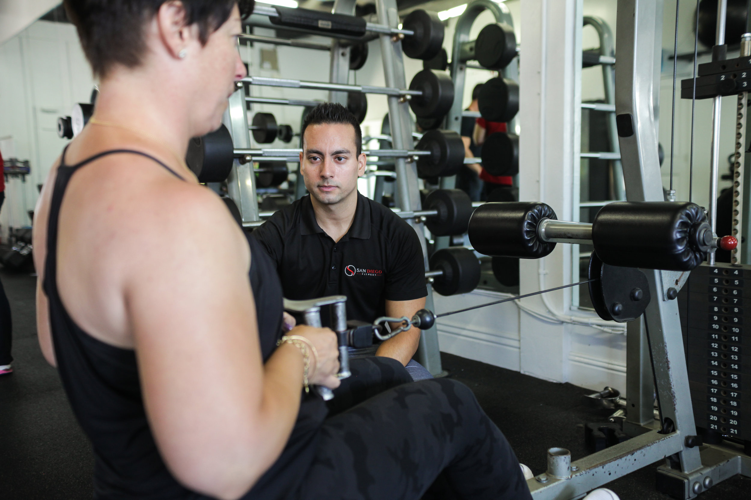 Personal Training - San Diego Fitness' Elite Personal Trainers offer one-on-one Personal Training in both 30-Minute and 60-Minute Sessions. Fully customized programs include nutritional guidance, resistance training protocols, cardiovascular programming, flexibility/stability training, and more. Our personal assistance provides the motivation, knowledge, and accountability you need to reach your individual health and fitness goals.