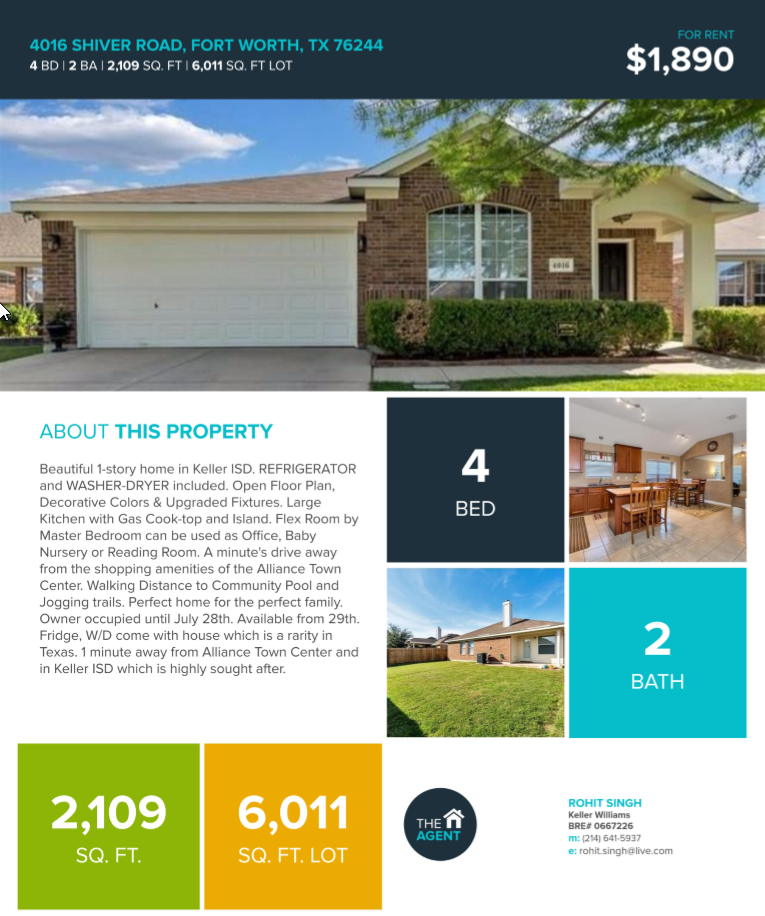 - 4 Bed, 2 Bath, 2109 Sqft. @1890 per month.Beautiful 1-Story home in Keller ISD. REFRIGERATOR and WASHER-DRYER included. Open Floor Plan, Decorative Colors & Upgraded Fixtures. Large Kitchen with Gas Cook-top and Island. Flex Room by Master Bedroom can be used as Office, Baby Nursery or Reading Room. A minute's drive away from the shopping amenities of the Alliance Town Center. Walking Distance to Community Pool and Jogging trails. Perfect home for the perfect family.