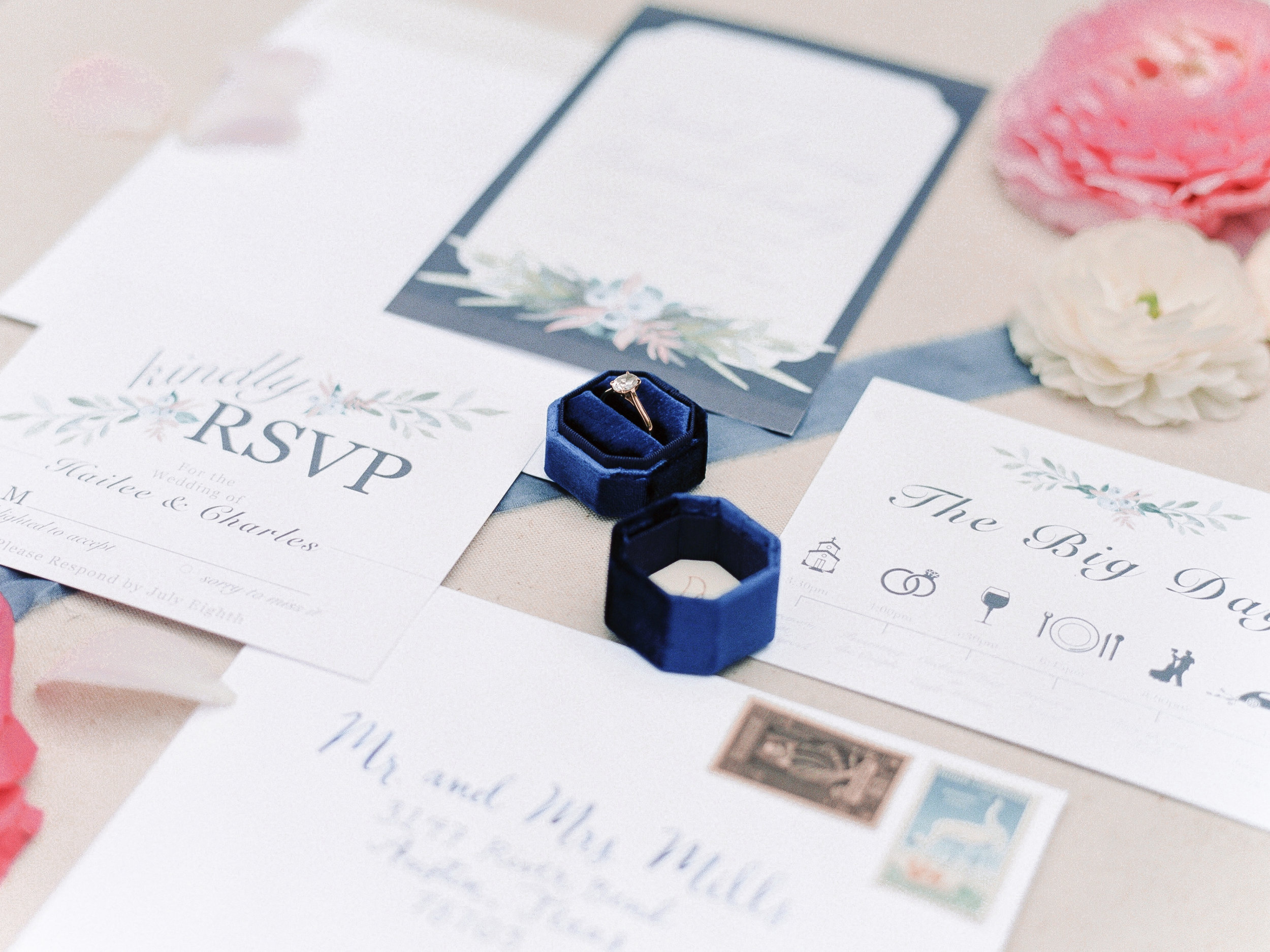 Stationery | Andrea Haughey Design  Photography | Ava Maria Photography  Ring Box | Lace Byrd  Ribbon | Tono & co.  Florals | Flowers & Thyme