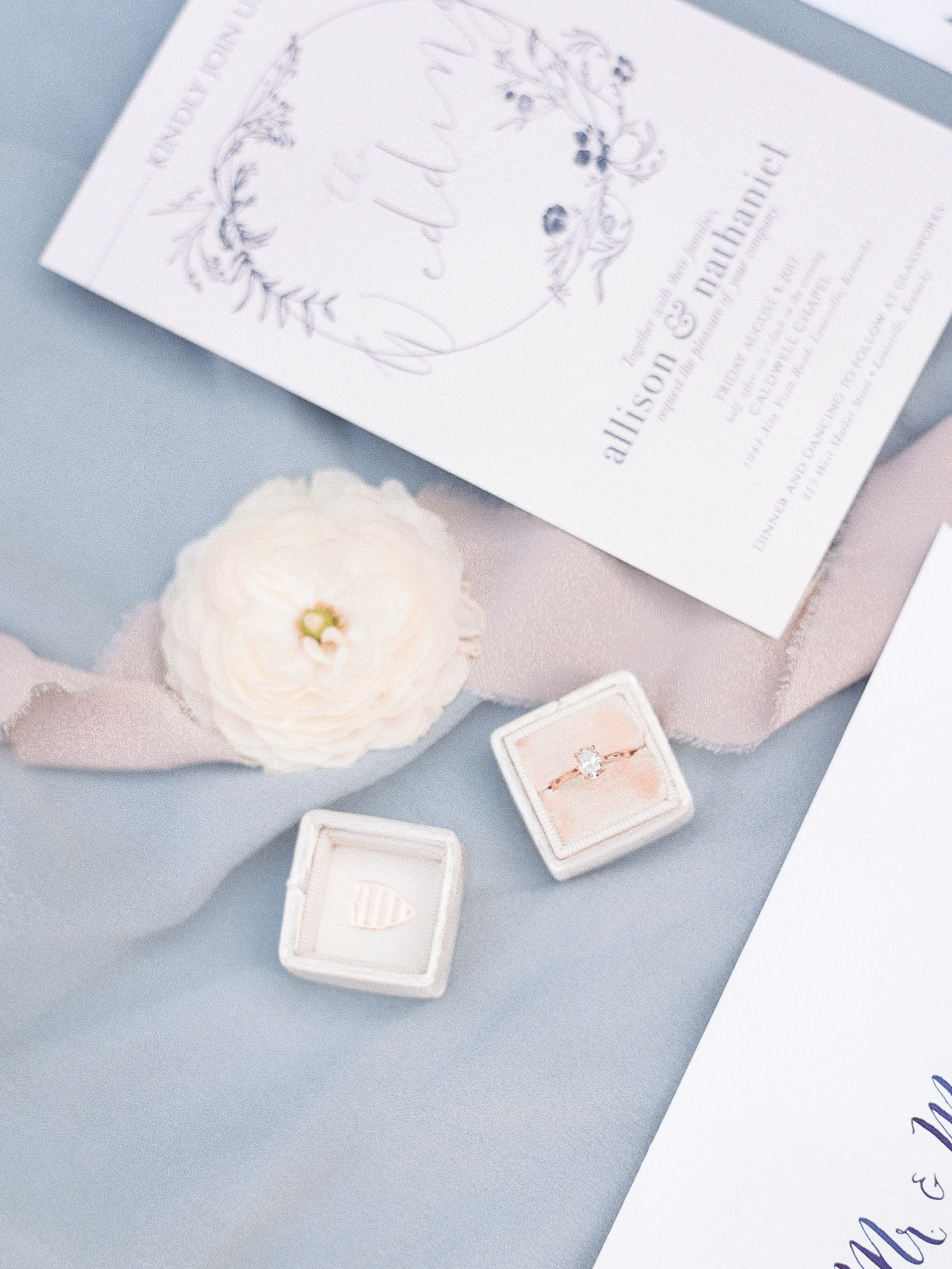 Stationery | Andrea Haughey Design  Photography | Ava Maria Photography  Ring Box | The Mrs. Box  Florals | Flowers & Thyme  Textiles | Tono & co.  Planning & Styling | To Be Loved Events