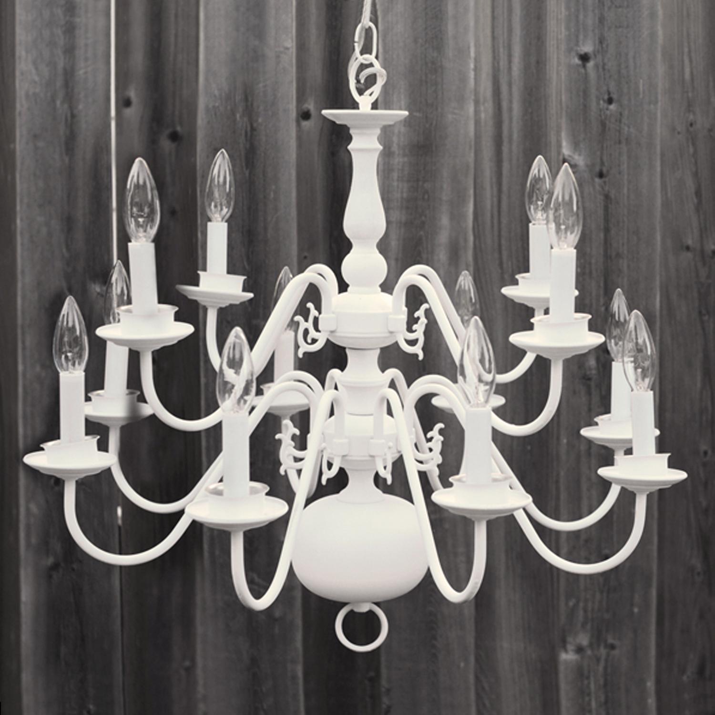 "12 bulb white chandelier - 21""w x 23""h"