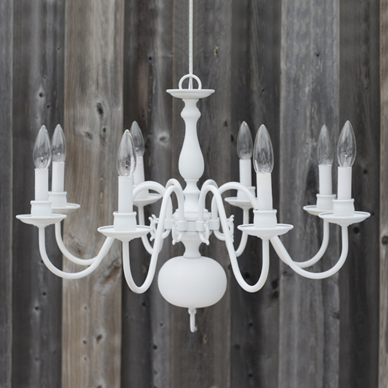 "8 bulb white chandelier - 21""w x 17.5""h"