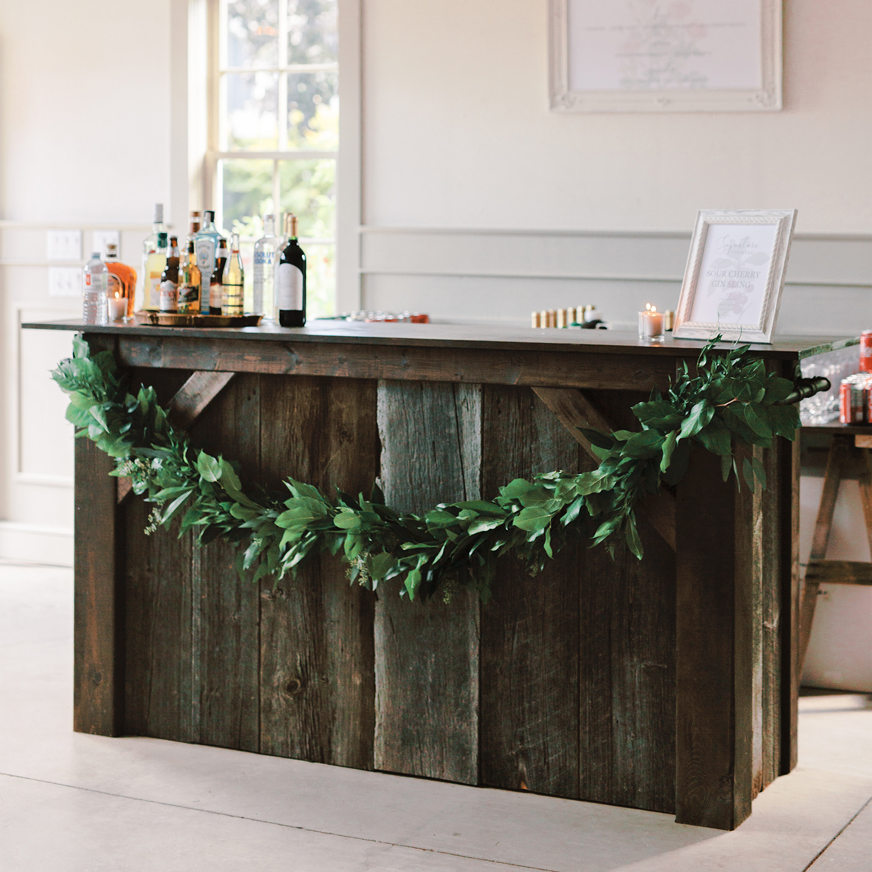 7' rustic wood bar