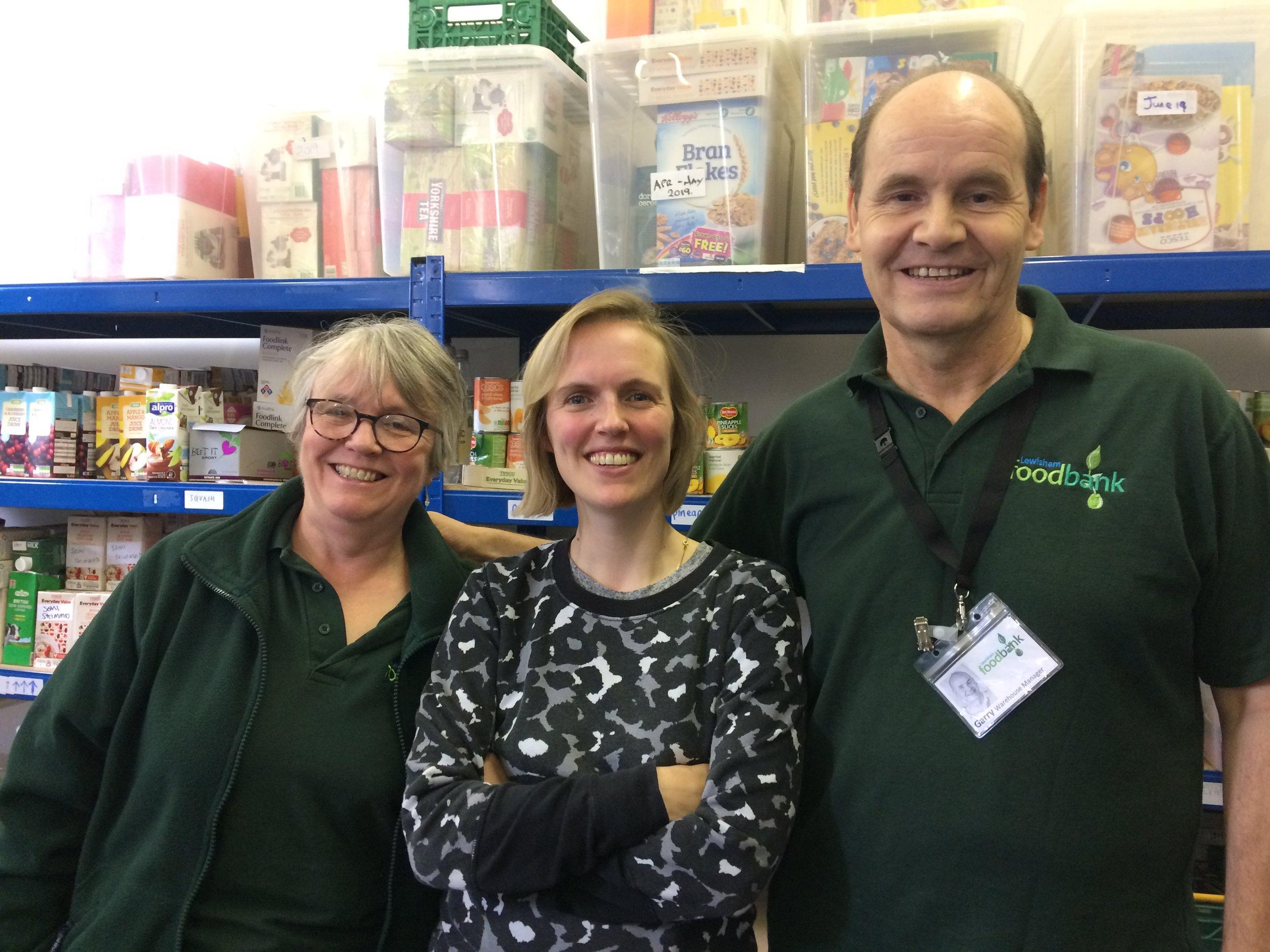 Reverend Carol Bostridge, Holly Walsh and Garry Greenland at  Lewisham Foodbank