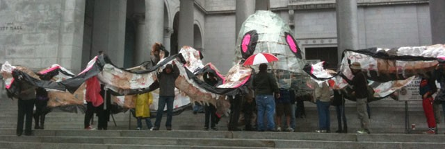 The Occupy Octopus. Photograph: LA Times.